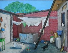 'A Poor Mexican Courtyard' by William Kurelek at Mayberry Fine Art Canadian Painters, Canadian Artists, American Artists, Lead Kindly Light, William Kurelek, Mexican Courtyard, Vancouver Art Gallery, Dreams And Visions, Sculpture Art