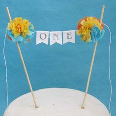 """Cake banner, smash cake,  birthday banner,""""ONE"""" H263 - birthday cake banner topper"""