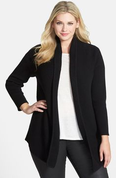 Multidirectional engineered ribbing creates subtle contrast for a versatile open-front cardigan crafted from a soft cotton blend. A draped shawl collar enhances the easygoing design.
