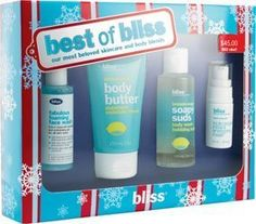 Bliss Best of Bliss Set by Bliss. $44.45. Set Includes: 1 - lemon+sage body butter, 4.2 fl. oz.. 1 - lemon+sage soapy suds, 3.4 fl. oz.. 1 - fabulous foaming face wash, 2 fl. oz.. 1 - triple oxygen instant energizing mask, 0.34 fl. oz.. 1 - best of skintentions spf 15 sample packet, 0.10 fl. oz.. Bliss Best of Bliss Set : Bliss' most beloved skincare and body blends. Perfect for trying or taking 'to-go', this sampler of the most sought-after stuff will make all of yo...