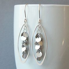 Silver Disk Dangle Earrings Silver Cluster by PeriniDesigns, $28.00