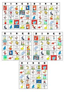 Dr Seuss Bingo cards
