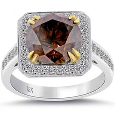 4.68 Carat Natural Fancy Cognac Brown Diamond Engagement Ring 18k White Gold - Coffee Diamond Rings - Color Rings