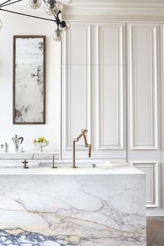 This dichotomy is so good. Marble and crown with panel molding with an industria... - http://centophobe.com/this-dichotomy-is-so-good-marble-and-crown-with-panel-molding-with-an-industria/ -