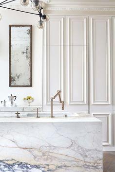 modo chandelier, antique mirror, brass tap, paonazzo marble, panelled kitchen, painted kitchen, victorian detailing, chevron parquet, notting hill - #blakeslondon