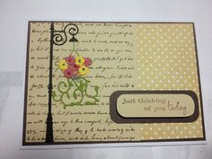 Keeping it simple with lamp post, hanging basket, ivy tendrills and sentiment from Poppy Stamps.