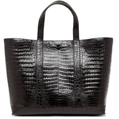 Nancy Gonzalez Crocodile Large Tote in Black .. forwardforward.com