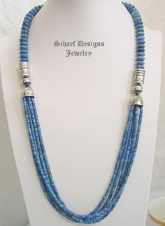 Schaef Designs denim lapis and sterling silver tube bead multi strand long necklace | Schaef Designs Southwestern Basics Collection | online upscale Southwestern, Equine, Native American, & Turquoise Jewelry gallery | Schaef Designs artisan handcrafted Jewelry | New Mexico