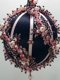 Pink Whirl in Black A Finished Hand Made Beaded by SatinAndBeads