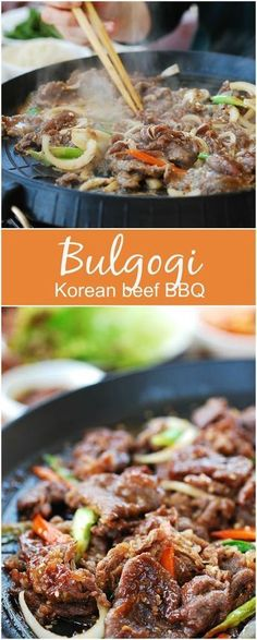 Bulgogi (Korean BBQ Beef) , By Paula Michele . Learn how to make the best bulgogi (Korean BBQ Beef) from scratch. Beef Recipes, Cooking Recipes, Healthy Recipes, Cake Recipes, Healthy Korean Recipes, Healthy Food, Asian Dinner Recipes, Cooking Food, Simple Recipes