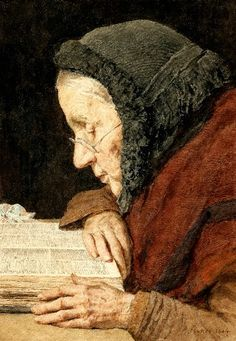 Albert Anker (1831-1910) - Old woman reading the Bible, 1904
