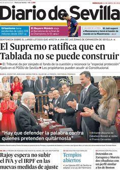 Los Titulares y Portadas de Noticias Destacadas Españolas del 24 de Abril de 2013 del Diario de Sevilla ¿Que le parecio esta Portada de este Diario Español?