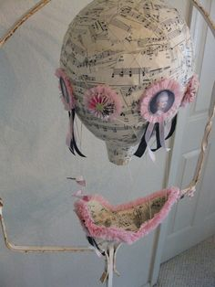 Music paper Hot Air Balloon Marie Antoinette made by vintagediana @ Etsy. I like the portraits on the hot air balloon