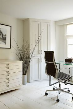 Hardwood Floors painted in Farrow & Ball All White No. 2005