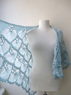 Hand crochet triangle lace shawl wrap in light BLUE