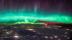 This geomagnetic storm was captured on camera from an aeroplane flying east over Canada on Tuesday. 2/4/17