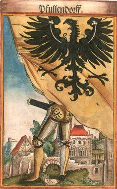 "Pfullendorf [Pfullendorff] (f°104) -- Koebel, Jacob, ""Wapen des heyligen römischen Reichs teutscher Nation"", Franckfurth am Main, 1545 [BSB Ms. Rar. 2155]"