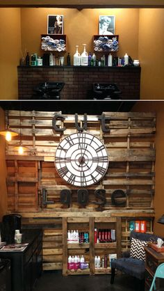 Cut Loose Hair Design: Upcycled Wine Crate Holds Salon Towels & Creates a Rustic Pallet Wood Wall for Client Coffee Bar Area | Green Couch...