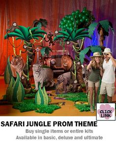 Ideas for decorating proms and other school dances.  Buy a Jungle Theme kit ($529.99) to set the mood for a great party.