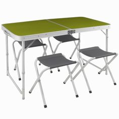 Camping furniture - 4/6-person Folding Camping Table + 4 Folding Stools, Green/Grey