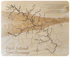 Ozark National Scenic Riverways, Missouri - laser cut wood map - 31 x 47 Natural Frame