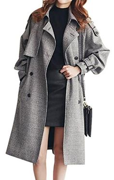 Oberora Womens Long Sleeve Belted Plaid Loose Trench Coat Overcoat Outerwear Grey XL