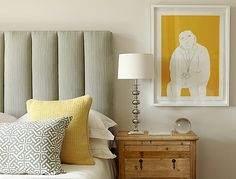 Kim Stephen: Chic modern gray and yellow bedroom design with gray headboard, gray and yellow pillows ...