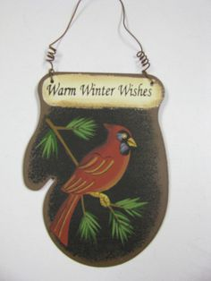 "WD1396 Warm Winter Wishes Cardinal 3 1/2"" x 3 1/2"" Metal $ 1.95"