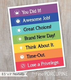 Color Coded Behavior Chart DIY Printable by TheFinePorcupine