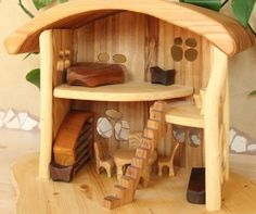 Wooden Dollhouse For Children Children Toy Wood by BohemiaMade Wood Projects, Woodworking Projects, Kids Doll House, Natural Toys, Miniature Rooms, Wooden Dollhouse, Vintage Diy, Heart For Kids, Wooden Toys