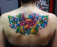 акварельная татуировка лиса в очках Rayban и цветы fox watercolor tattoo animal flower