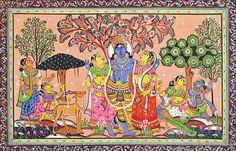 Krishna with Rukmini and Satyabhama (Orissa Paata Painting on Tussar Silk - Unframed))