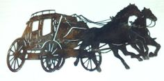 """Stage Coach- Wall Art (Metal Sign)- Acid Washed Madison Manufacturing 574-633-4433.  16"""" x 7-1/4"""", 1 lb. 1 oz.  It can be acid washed ($24.22) or powder coated black ($18.07).  Price does not include shipping."""