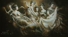 This hub showcasts the amazing works of Zeng Hao, the DunHuang Fei Tian series that depcit oriental goddess and angels. His works have gained a lot of recognition around the world. Chinese Painting, Chinese Art, Dunhuang, Spiritual Images, Spiritual Life, Mudras, Guanyin, Angeles, Gods And Goddesses