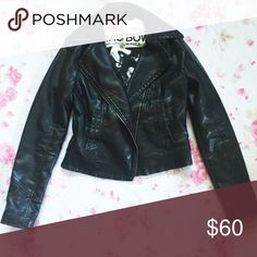 Express Vegan Leather Moto Motorcycle Jacket 🌸A black motorcycle style jacket by Express   🌸Made of faux leather, polyurethane   🌸Has some wearing around the bottom edges in the front, seen in the second picture  🌸Size Small  Note: Only the jacket is included in this listing, the earrings are for sale in another listing Express Jackets & Coats