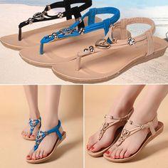0472bb71e74ea3 Ladies Summer Bohemia Beads Sandals Womens Thong Flip Flop Beach Flat Shoes   fashion  clothing