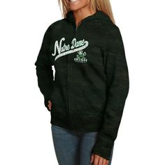 Notre Dame Fighting Irish Ladies Burnout Fleece Full Zip Hoodie - Green large