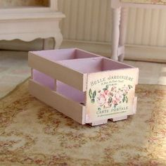 Dollhouse Miniature Pink French Wooden Crate Furniture Shabby Chic 12th Scale.