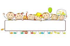 Kids standing behind Banner. Illustration of kids standing behid banner on white , School Border, Powerpoint Background Design, School Frame, Clip Art, Borders For Paper, Child Day, Cartoon Kids, Classroom Decor, Preschool Activities
