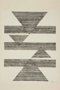 Lygia Pape, Sem título: Tecelar (Untitled: Weaving), 1956; Woodcut on Japanese paper