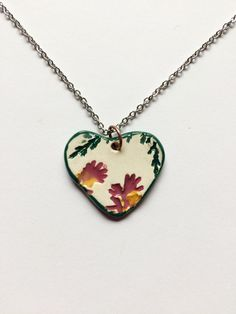 Small Ceramic Heart Leaf Pendant by AlainaSheenDesigns on Etsy