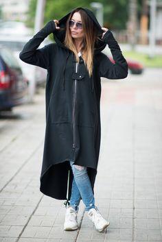Long kaftan dress, Long kaftan, Black hoodie, Womens hoodie, Long black hooded sweatshirts, sweatshirts for women, Plus size maxi vest by EUGfashion on Etsy