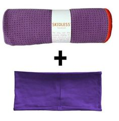Purple yogitoes® mat size SKIDLESS® yoga towel + purple hBand stretchy headband combo by Absolute Yogi® Includes one free black headband from Absolute Yogi. super absorbant microfiber yoga towel. soft and absorbent headband comfortably hold back hair during yoga or activities.. hygenic - machine washable and dryer safe. light weight - easy to travel with.  #Absolute_Yogi #Sports