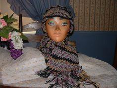 New Crocheted Multi-Color  Women Accessorie Scarf & Benie Hat Set NEW Handmade  #Handmade #LongScarfHatBenie