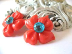 Bright Coral Flowers with Aqua Blue Crystals Post by BeJeweledNH, $15.00