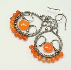 Orange Carnelian Gemstone Dangle Argentium Sterling Wire Earrings. $64.00, via Etsy.