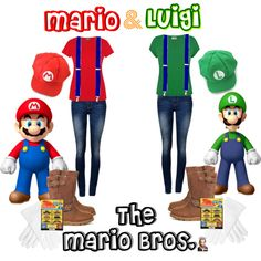 """DIY Mario & Luigi Halloween Costumes"" by jessicaleila on Polyvore"