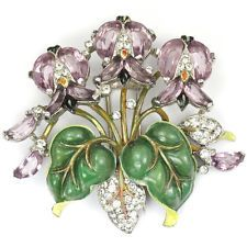Trifari Philippe Smaltované Listy a Amethyst Demilunes Floral Spray Pin klip