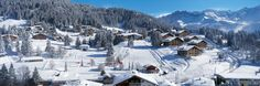 snow covered ski slopes and chalets at the Swiss ski resort of Villars Weekend Breaks, Weekend Trips, Swiss Ski, Ski Slopes, Ski Holidays, Winter Landscape, Switzerland, Mount Everest, Skiing
