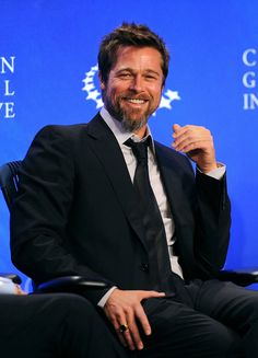 Brad Pitt  seemed to catch a case of the giggles during the Clinton Global Initiative in NYC in September 2009.